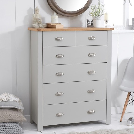 Platina wooden chest of drawers in grey and oak with