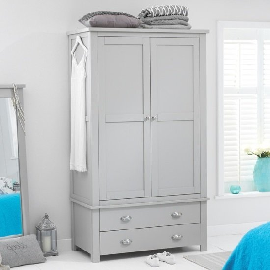 Platina wooden wardrobe in grey with doors drawers
