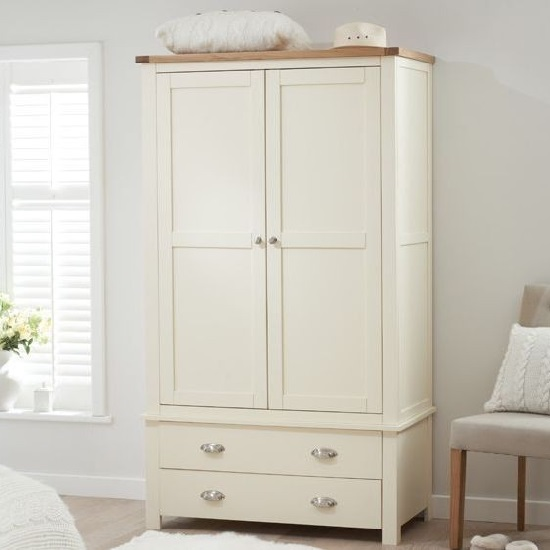 Platina Wardrobe In Cream And Oak With 2 Doors 2 Drawers