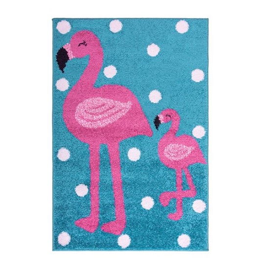 Play Days Flamingo Rug In Pink And Blue Color