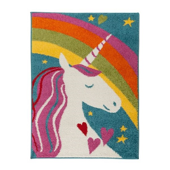 Play Days Unicorn Rainbow Multi Color Rug