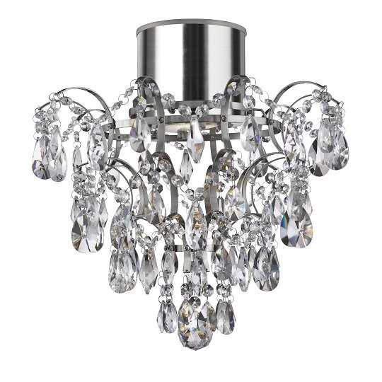 Pleades Chandelier With Crystal Doplets Flush Ceiling Light