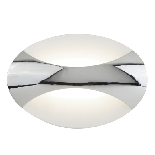 Pleades LED Oval Wall Light In Chrome And Sand White