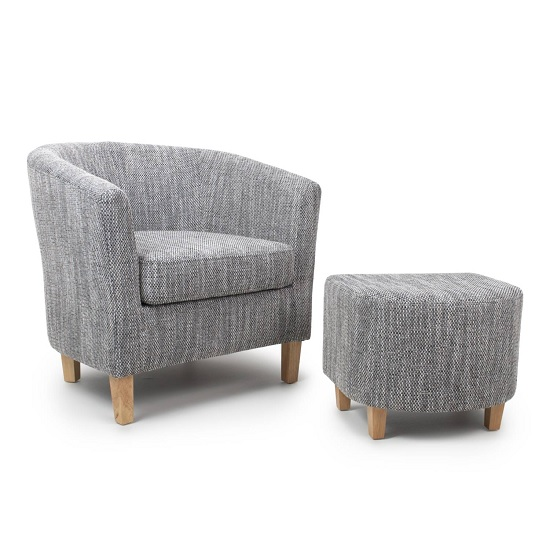 Pleven Tub Chair With Stool In Grey Tweed Fabric
