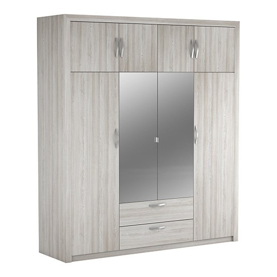 Plutinos 6 Doors 2 Drawers Mirrored Wardrobe In Shannon Oak