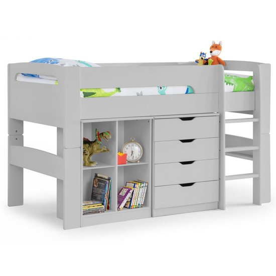 Pluto Bunk Bed With Bookcase And Chest Of Drawers In Dove Grey_5