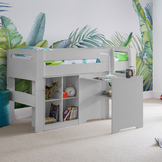 Pluto Bunk Bed With Bookcase And Study Desk In Dove Grey