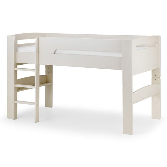 Pluto Bunk Bed With Bookcase And Study Desk In Stone White_2