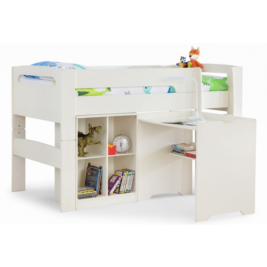 Pluto Bunk Bed With Bookcase And Study Desk In Stone White_5