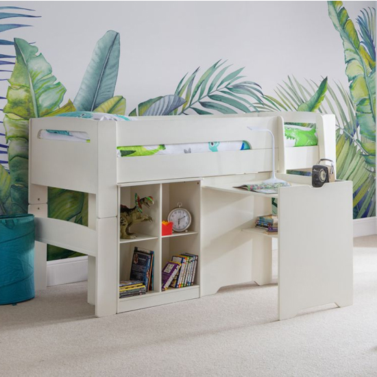 Pluto Bunk Bed With Bookcase And Study Desk In Stone White