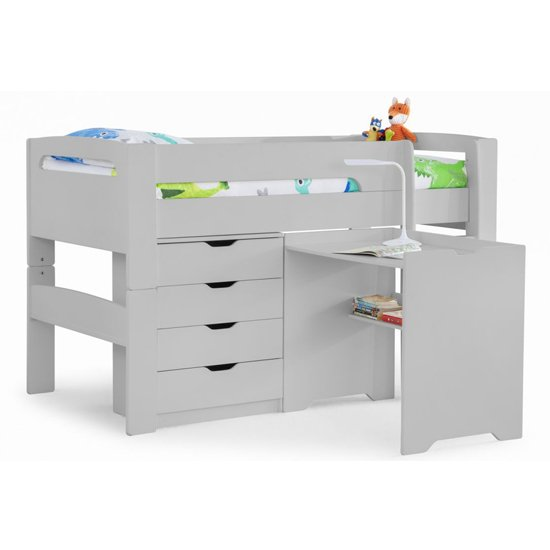 Pluto Dove Grey Bunk Bed With Chest Of Drawers And Study Desk_5
