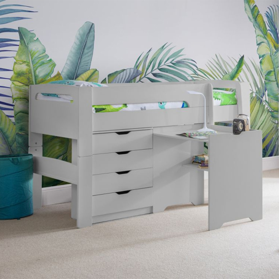 Pluto Dove Grey Bunk Bed With Chest Of Drawers And Study Desk