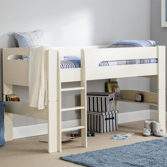 Pluto Wooden Midsleeper Bunk Bed In Stone White