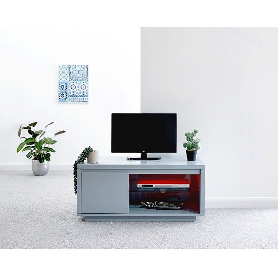 Point TV Stand In Grey High Gloss With LED Lighting