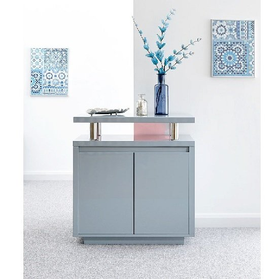 Point High Gloss LED Sideboard In Grey