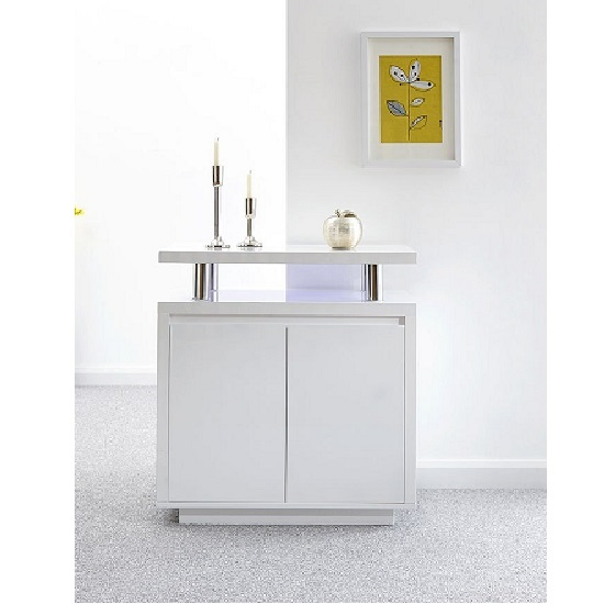 Point High Gloss LED Sideboard In White