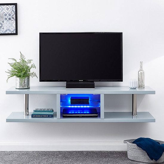Point High Gloss Wall Mounted TV Stand In Grey With LED