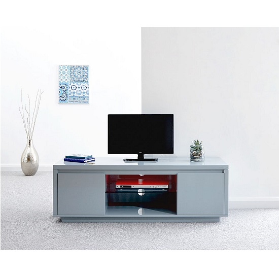 Point Large TV Stand In Grey High Gloss With LED Light