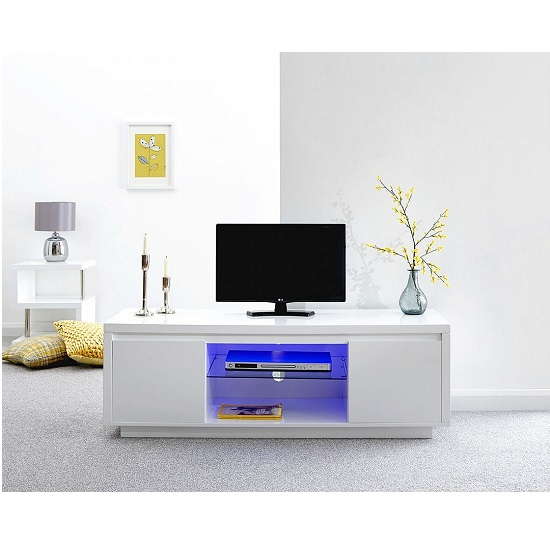 Point Large TV Stand In White High Gloss With LED Light_1
