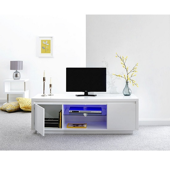 Point Large TV Stand In White High Gloss With LED Light_2