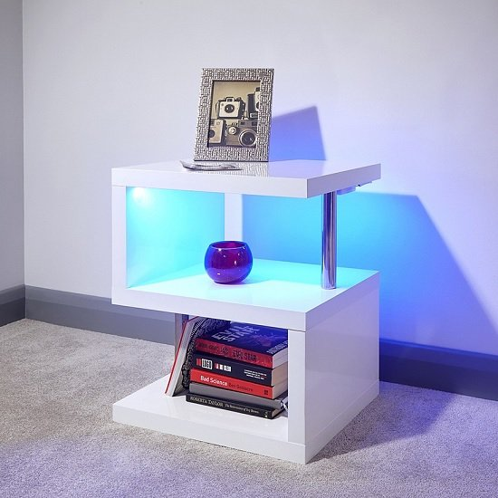 Point Lamp Table In White High Gloss With LED Lighting_1