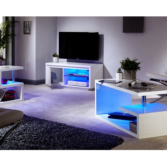 Point Lamp Table In White High Gloss With LED Lighting_2