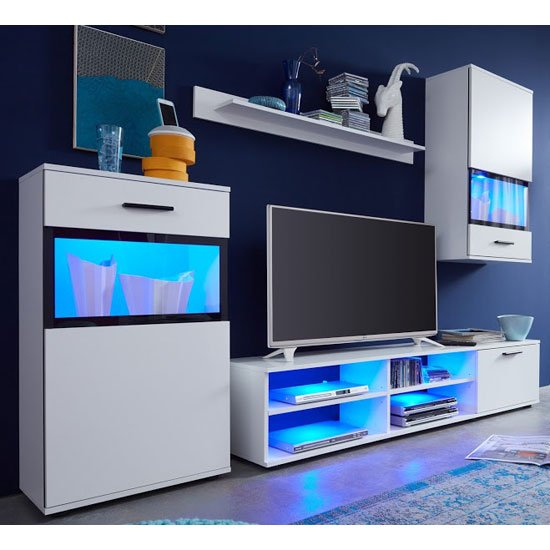 Read more about Polar living room furniture set in white with led lighting