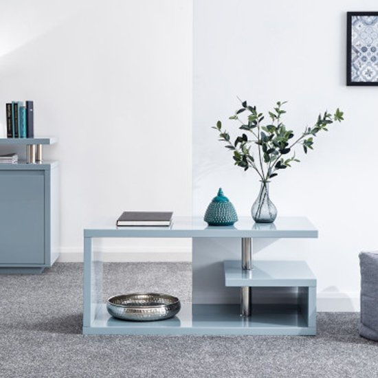 Point Coffee Table In Grey High Gloss With LED Lighting_2
