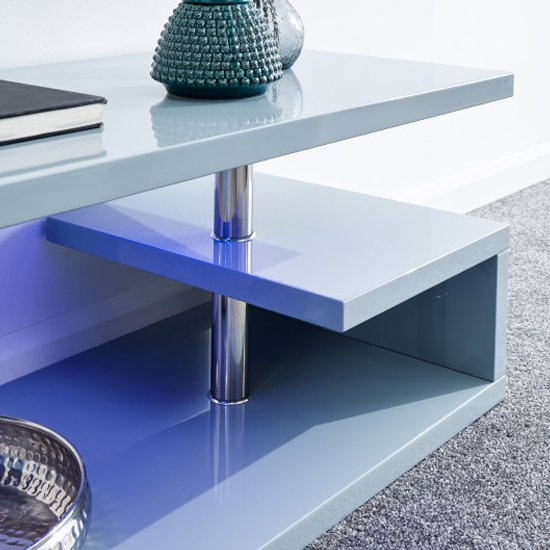 Point Coffee Table In Grey High Gloss With LED Lighting_3