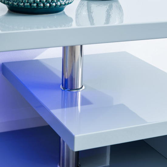 Point Coffee Table In Grey High Gloss With LED Lighting_4
