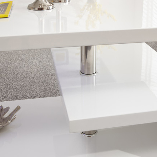 Point Coffee Table In White High Gloss With LED Lighting_3