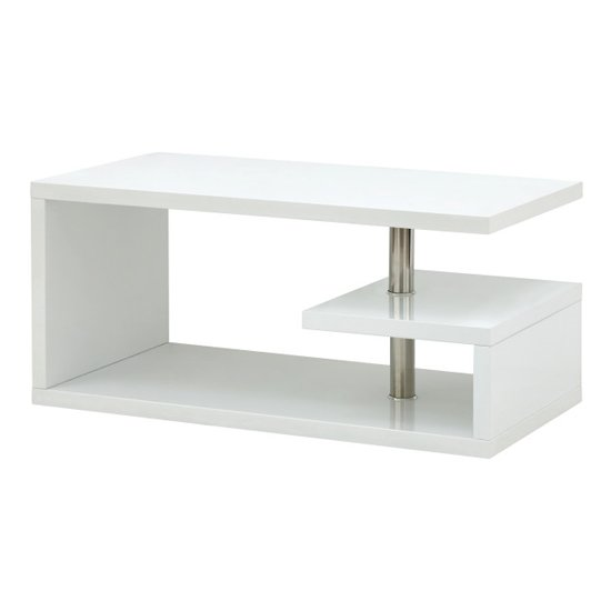 Point Coffee Table In White High Gloss With LED Lighting_5