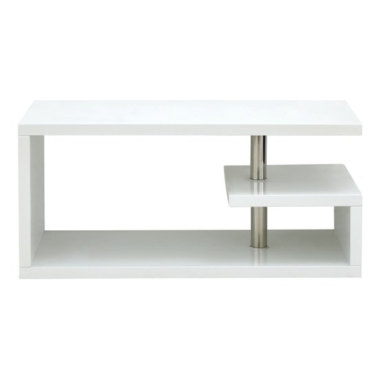 Point Coffee Table In White High Gloss With LED Lighting_6