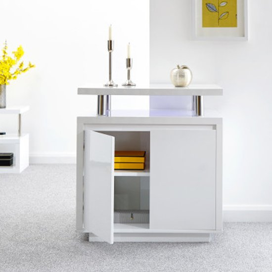 Point High Gloss LED Sideboard In White_2
