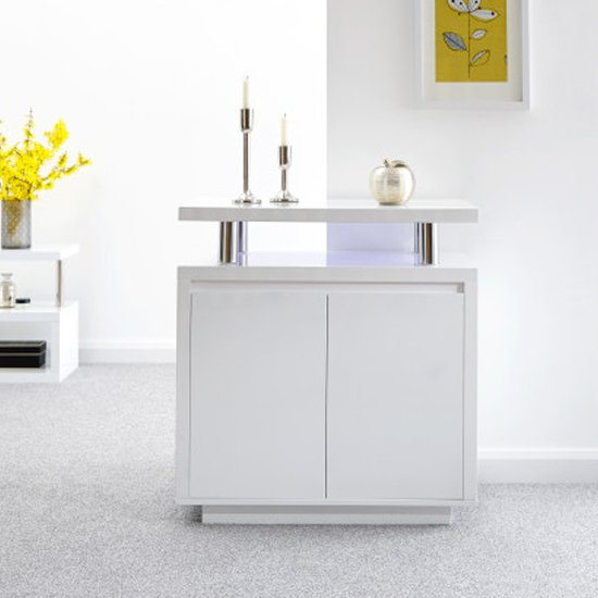 Point High Gloss LED Sideboard In White_1