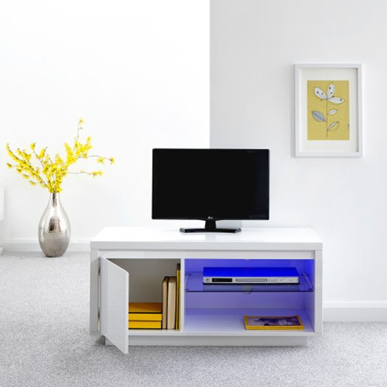 Point TV Stand In White High Gloss With LED Lighting_2