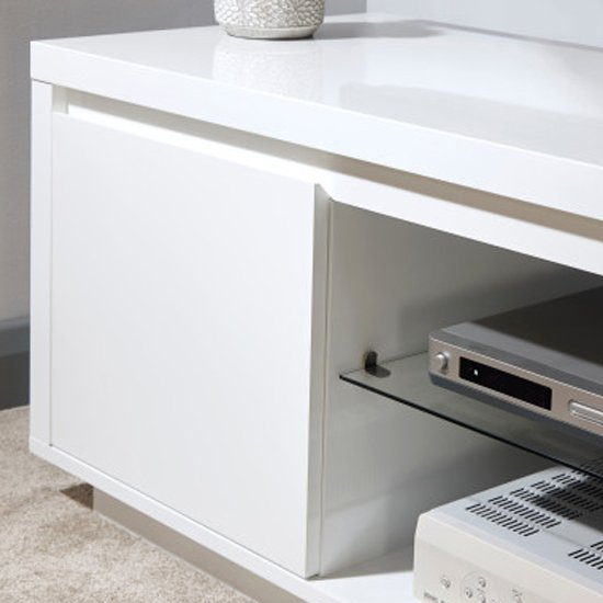 Point TV Stand In White High Gloss With LED Lighting_3