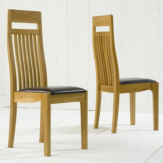 Pollux Dining Chairs With Brown Leather Seat In Pair
