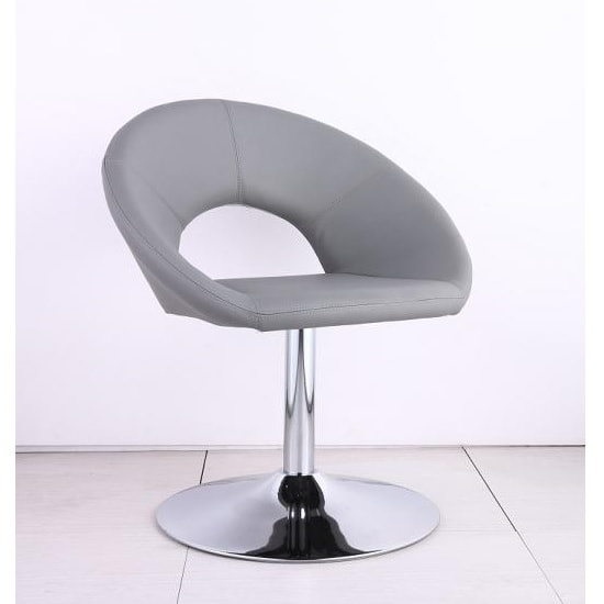 Polo Bistro Chair In Grey Faux Leather With Chrome Base