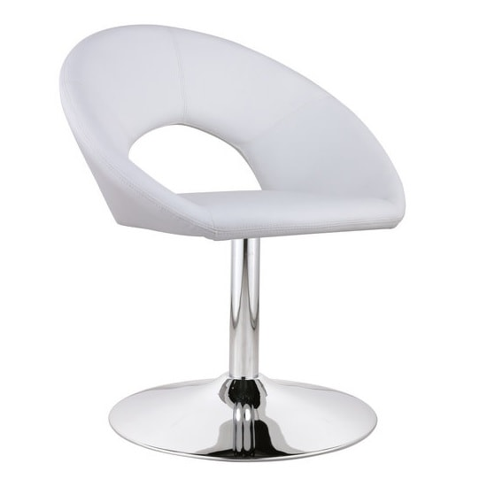 Polo Novelty Chair In White Faux Leather With Chrome Legs