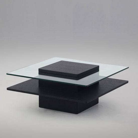 Pompei Wooden And Glass Top Square Coffee Table In Black