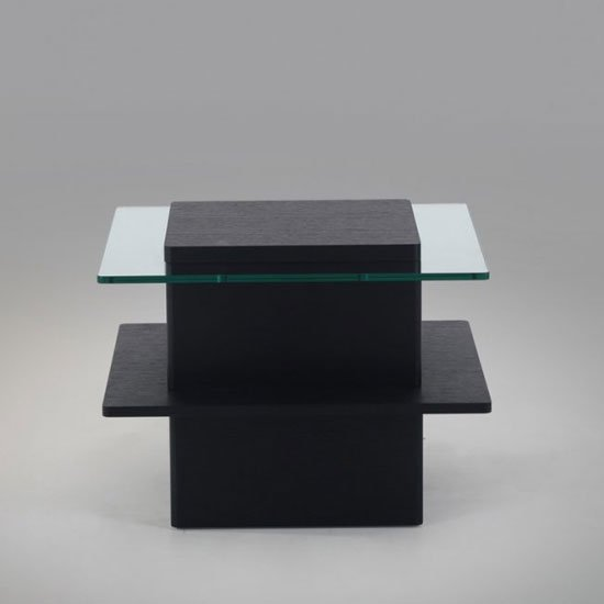Pompei Wooden And Glass Top Square End Table In Black