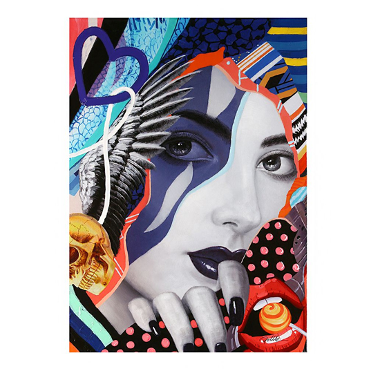 Pop Art Lady Picture Canvas Wall Art In Multicolor
