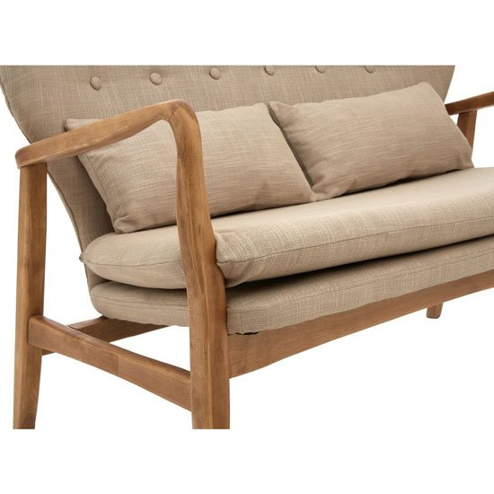 Porrima 2 Seater Sofa In Beige With Natural Wood Frame_3