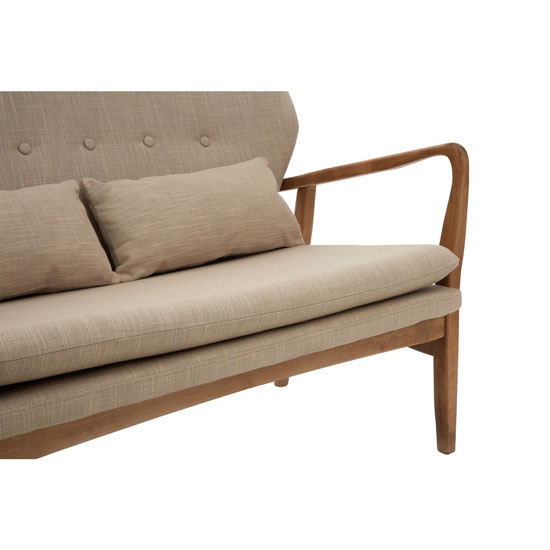 Porrima 2 Seater Sofa In Beige With Natural Wood Frame_5