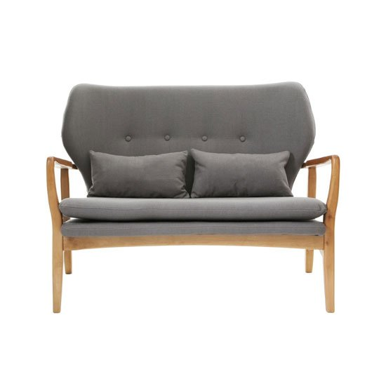 Porrima 2 Seater Sofa In Grey With Natural Wood Frame