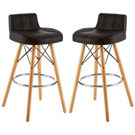 Porrima Black Faux Leather Effect Bar Stools In Pair
