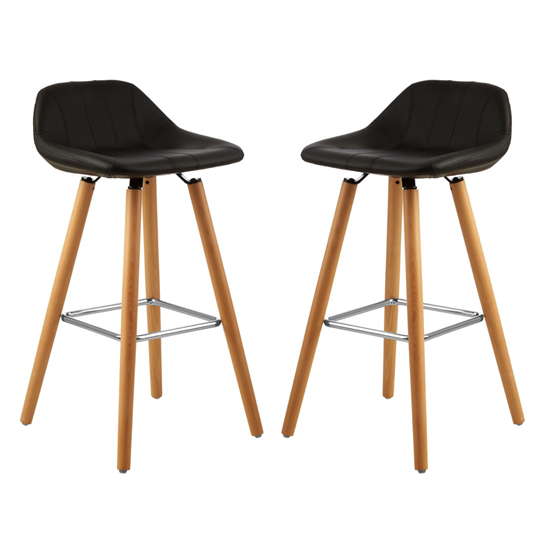 Porrima Black Faux Leather Bar Stools In Pair