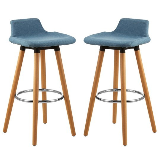 Porrima Blue Fabric Seat Bar Stools In Pair