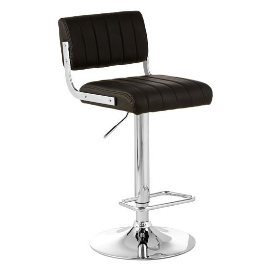 Porrima Channel Design Leather Seat Bar Stool In Black